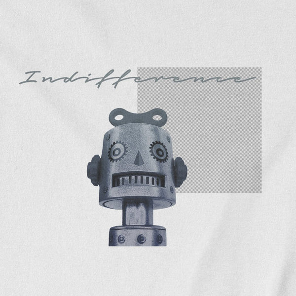Isaac the robot t-shirt closeup