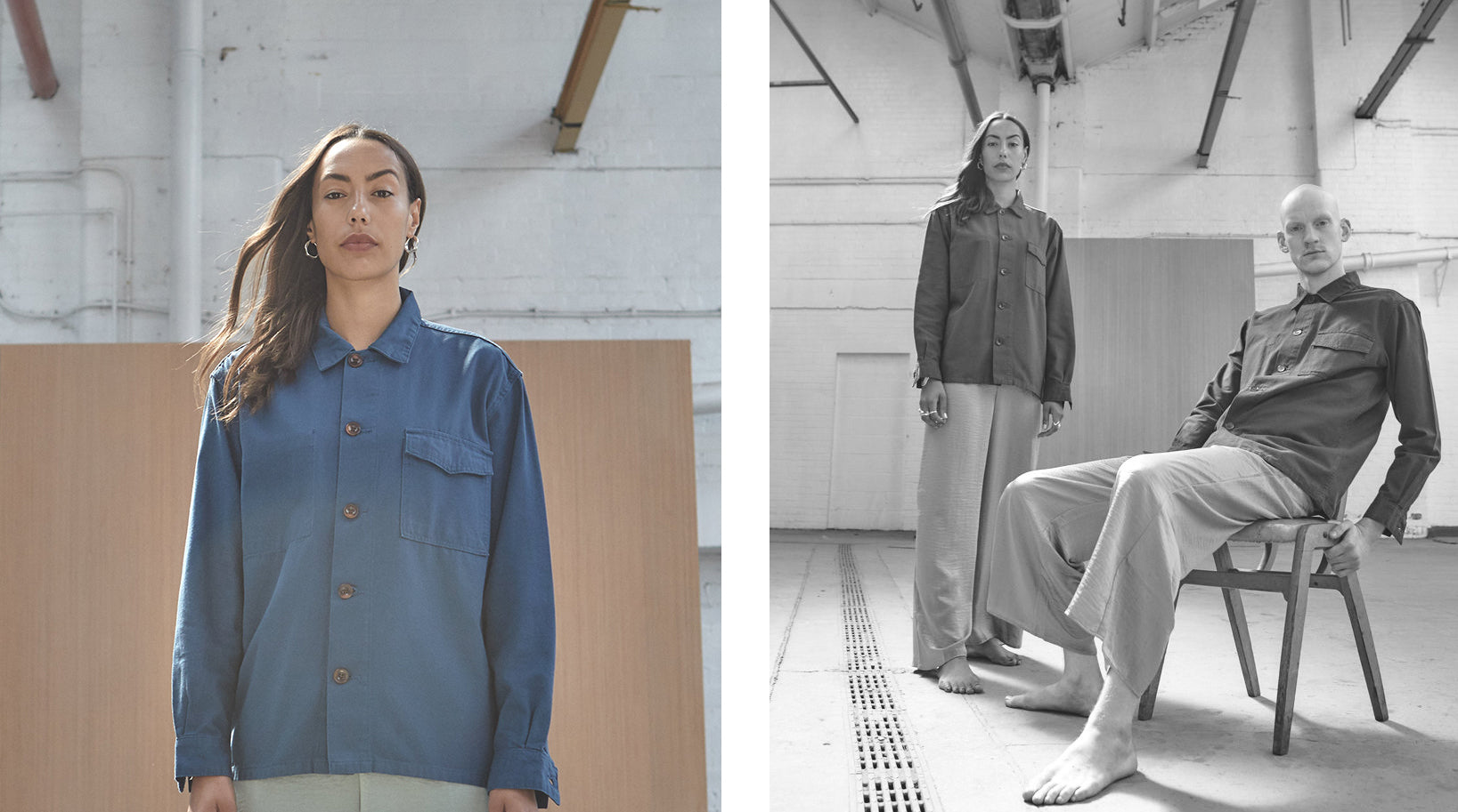 Panel containing 2 images. On the left, a colour image of a woman wearing an Uskees blue button shirt and on the right, a man sitting and a woman standing wearing Uskees shirts.