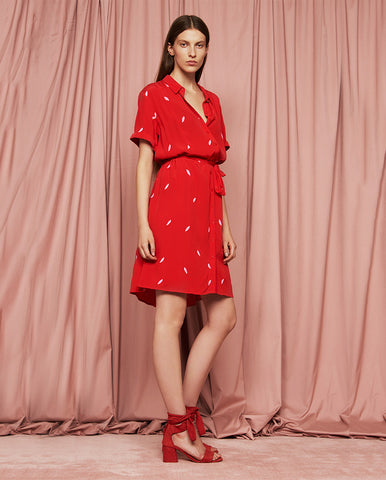 Boyfriend Embroidery Dress Red Loco Lips