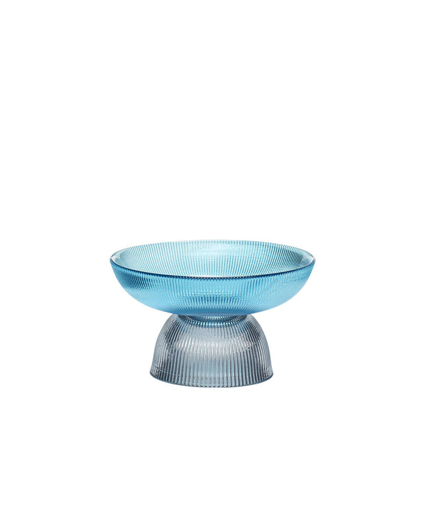 Ribbed Glass Bowl Blue/Grey