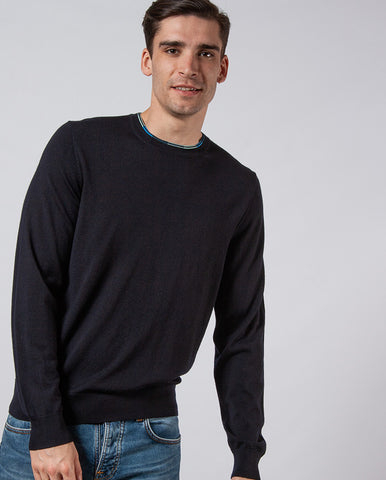Contrast Blue Trim Knit NAVY