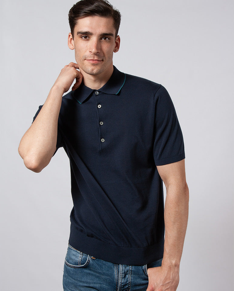 Tipped Knitted Polo NAVY