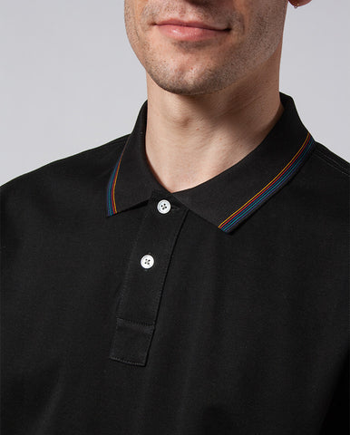 Tipped Cotton Polo BLACK
