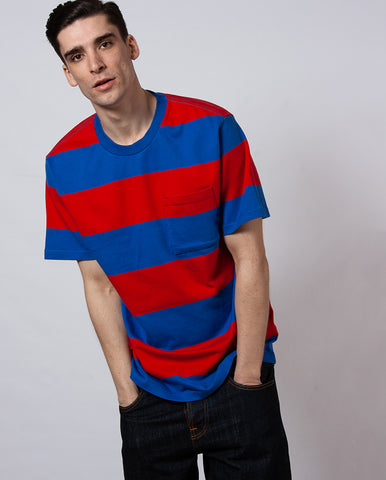 S/S Football Tee Red/Blue