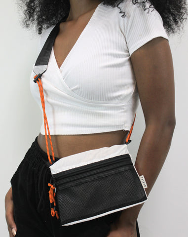 Sacoche Bag Small White/Blk/Orange
