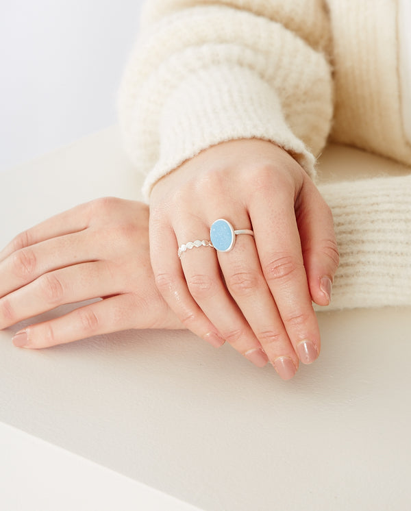 Shallow Blue Druzy ring SILVER