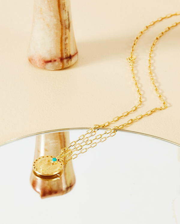 Scarab & Turquoise Pendant Necklace GOLD