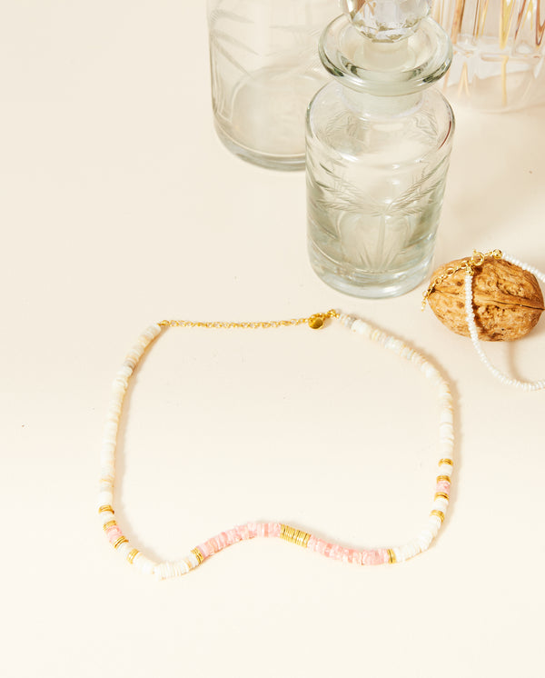 Stone Disc Necklace Soft Pink Mix
