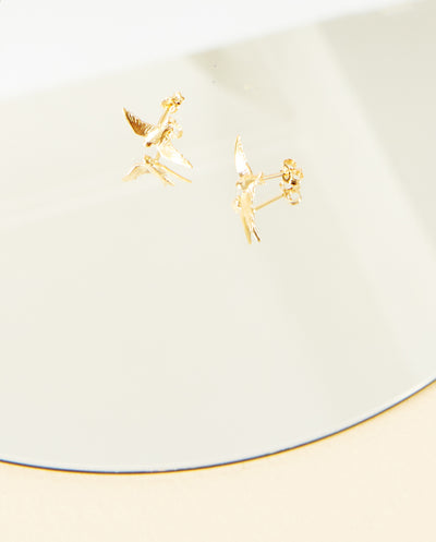 Flying Swallow Stud Earring