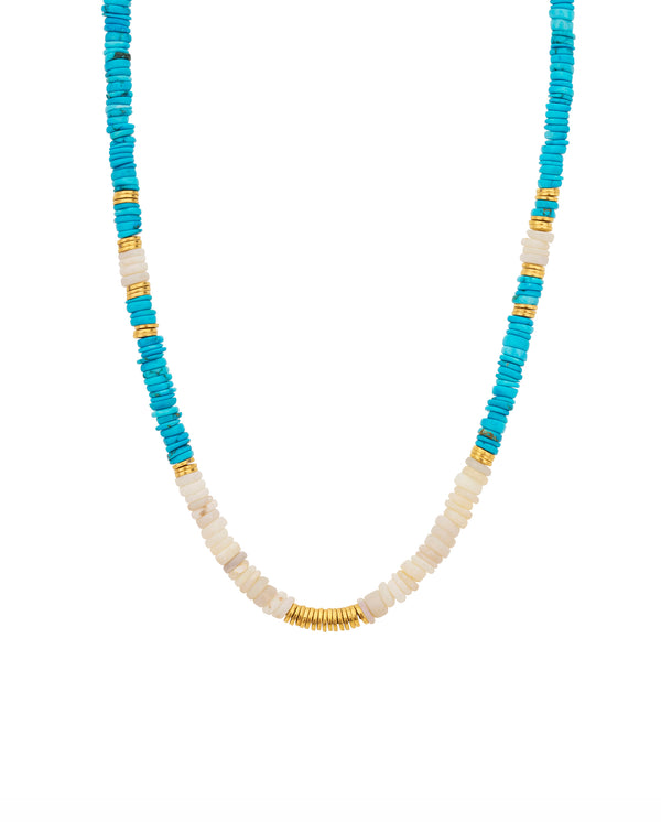Stone Disc Necklace Turquoise Mix