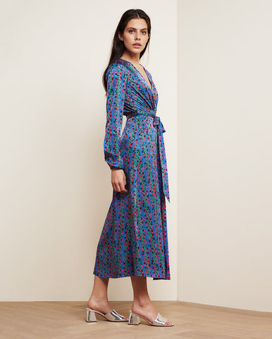 Isabel Lou Dress Fan Blue/ Cactus