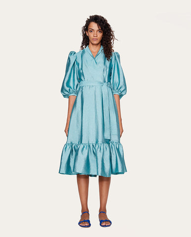 Chinie Textured Wrap Dress Aqua