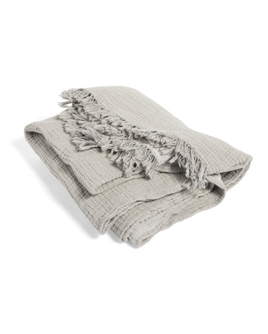 Crinkle Plaid Throw Grey