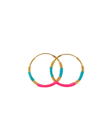 Small Fluro Hoops Turq/Rose