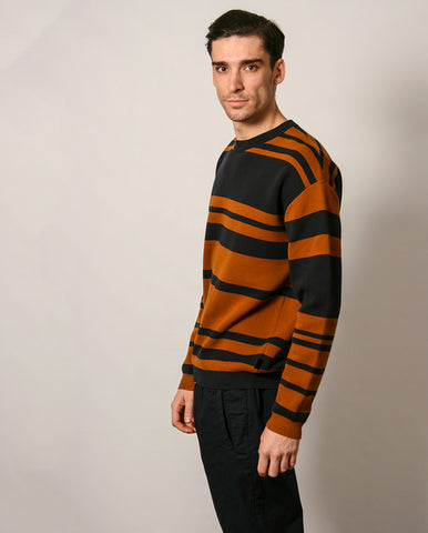 Bold Stripe Knit NAVY/TAN
