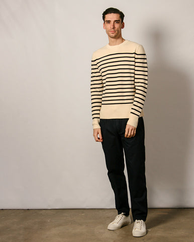 Verner Normandy Knit Ecru/Black Stripe