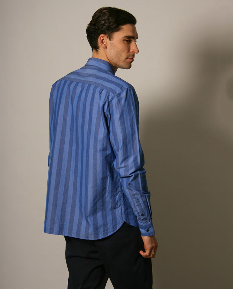 Curtis Striped Shirt Bright Blue Stripe