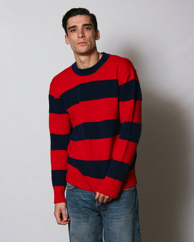 Fleece Stripe Crew Red/Navy