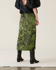 Silk Satin Skirt Lime Tiger