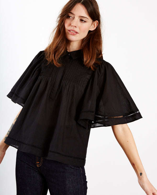 Thorn Fluted Sleeve Blouse BLACK