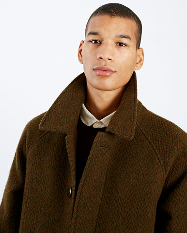 Couto Raglan Overcoat Brown Herringbone