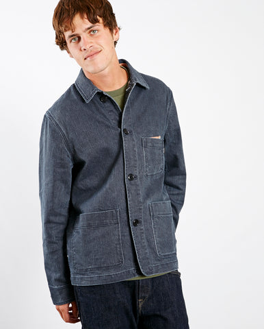 Washed Denim Chore Jacket Denim Blue