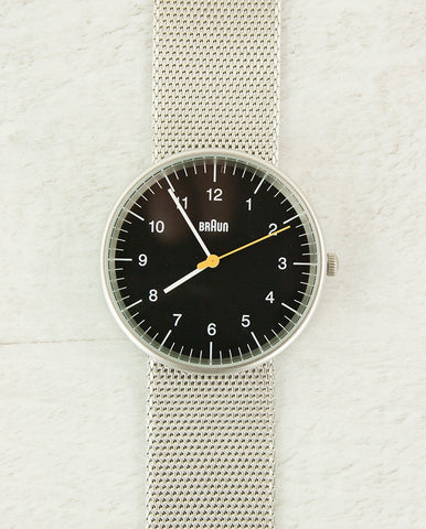 Braun Watch Black Dial Silver Mesh Strap