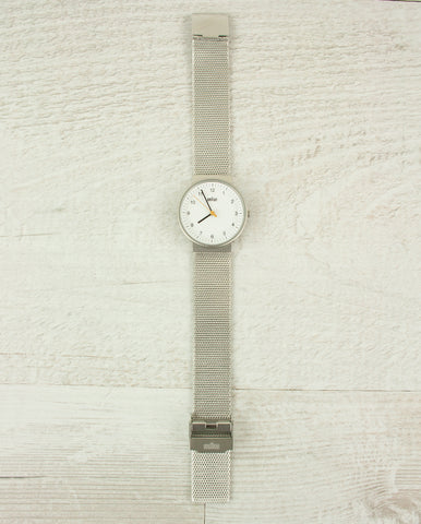 Ladies Watch white dial Silver Mesh Strap