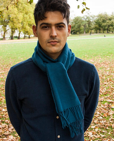 Johnstons Wool Scarf Blue