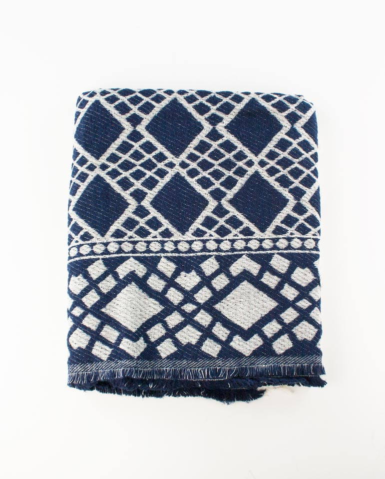 Patterned Scarf Navy