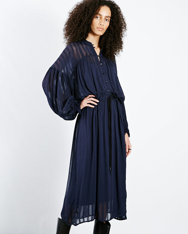 Lannel Sheer Stripe Dress Dk Blue