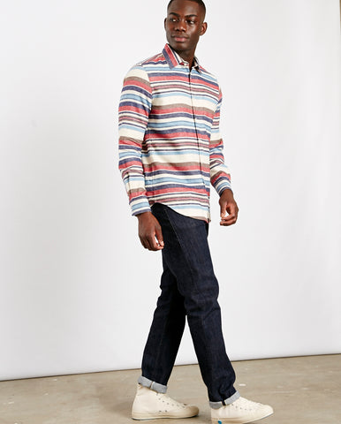 Montauk Stripe Shirt Blue/Ecru/Red