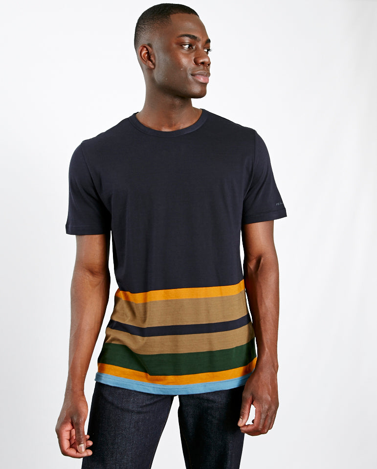 Colour Block tee shirt Navy/Multi