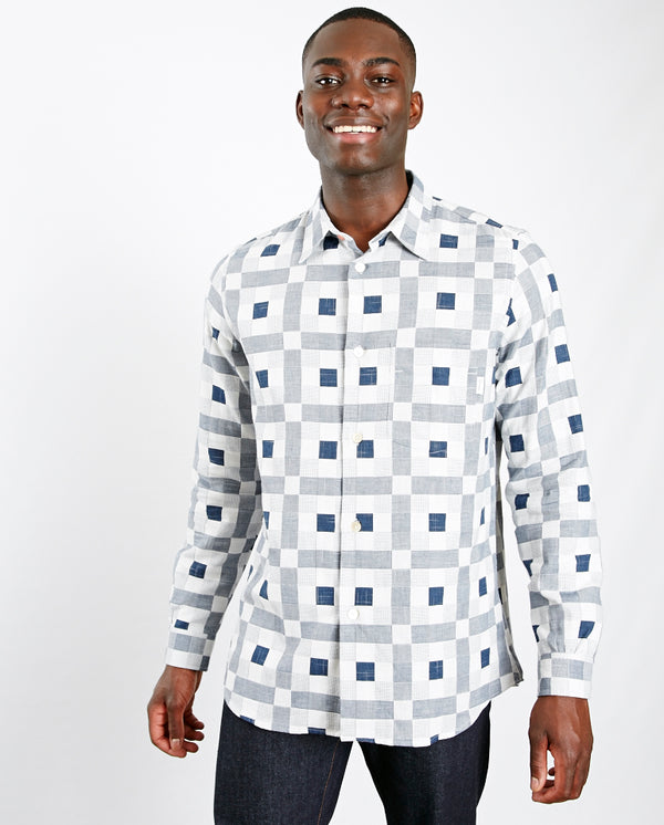Graphic Check Shirt White/Navy