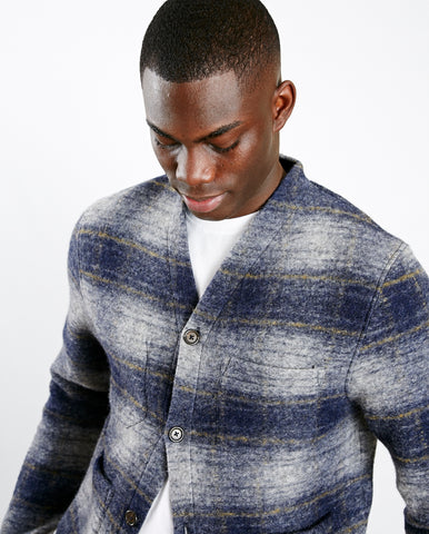 Austin Wool Fleece Cardi Navy Check