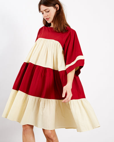 Paloma Dress Red/Ecru