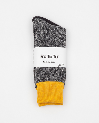 Double Face Socks Yellow/Charcoal