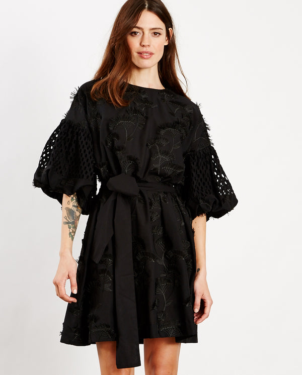 Thunder Embroidered Shift Dress BLACK