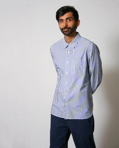 Striped Patch Shirt Navy Stripe