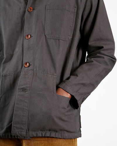 Mens Button Jacket Washed Black