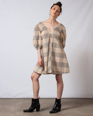 Seersucker Check Dress Irish Cream