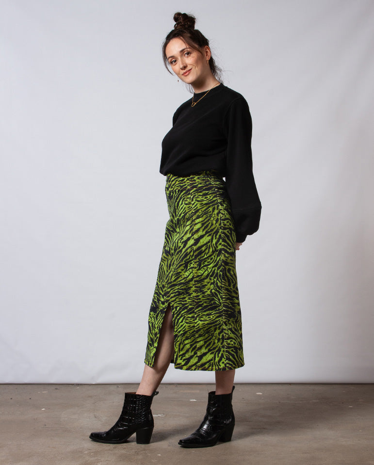 Soft Tiger Denim Skirt Lime Tiger