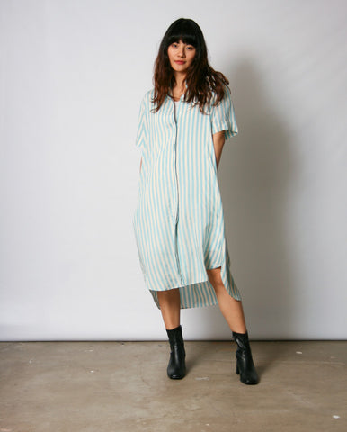 Bold Stripe Shirt dress Aqua/Ecru