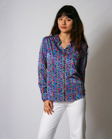 Sunrise Lou Blouse Fan Blue/ Cactus