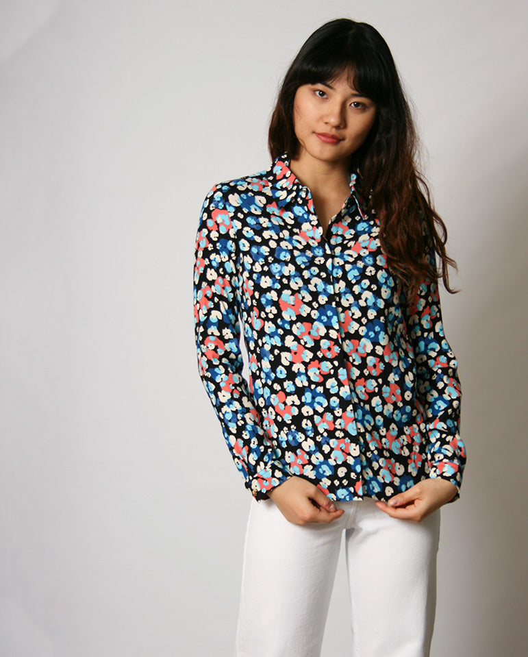 Perfect Blouse Blk/Riviera Blue