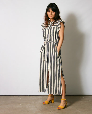 Block Stripe Dress Grey/Ecru