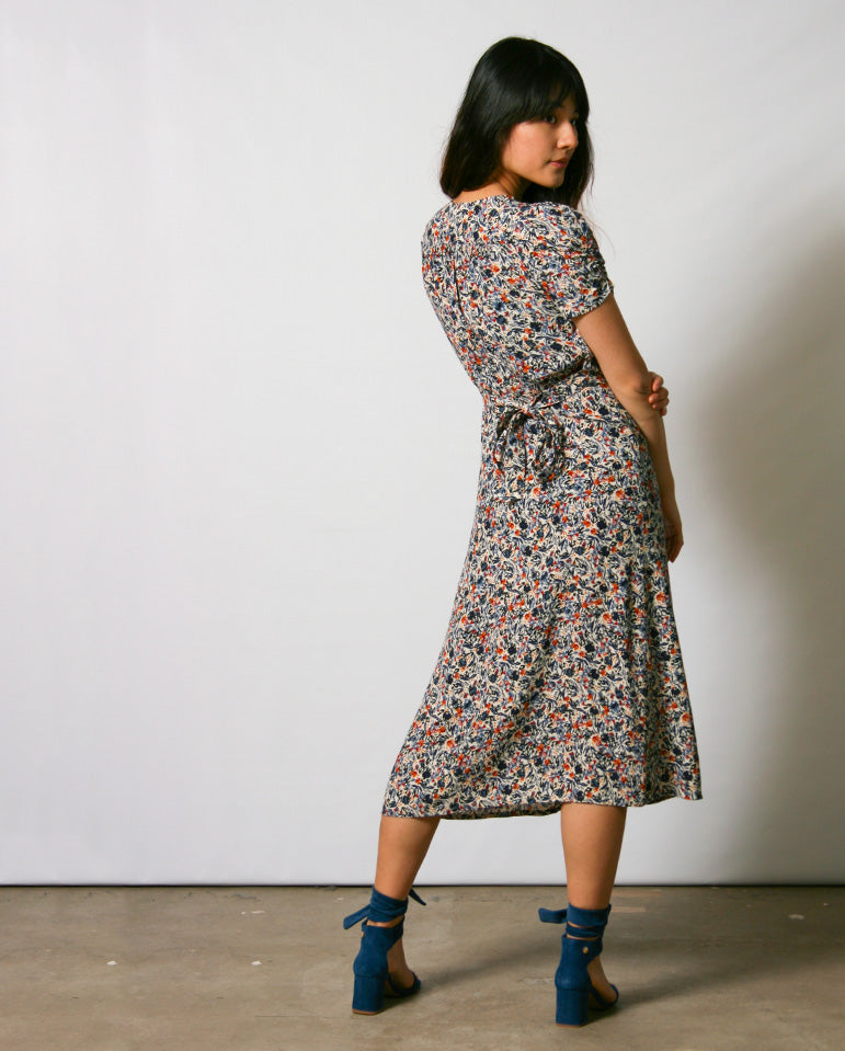 Upala Dress Blue/Ecru print