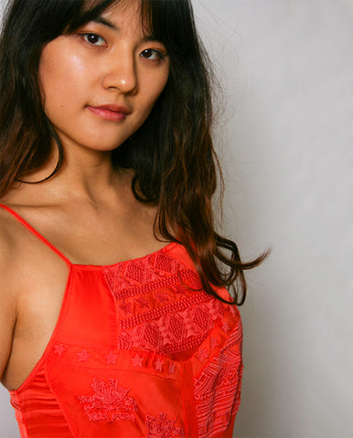 Embroidered Slip Dress CORAL