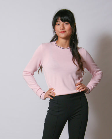 Cotton Tipped Knit Soft Pink
