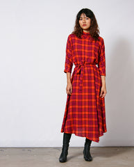 High Neck Wool Dress Orange/Pink